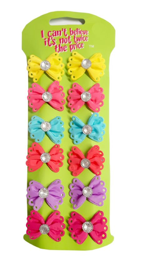 12 Small Gem Bow Clips - Mixed Colours